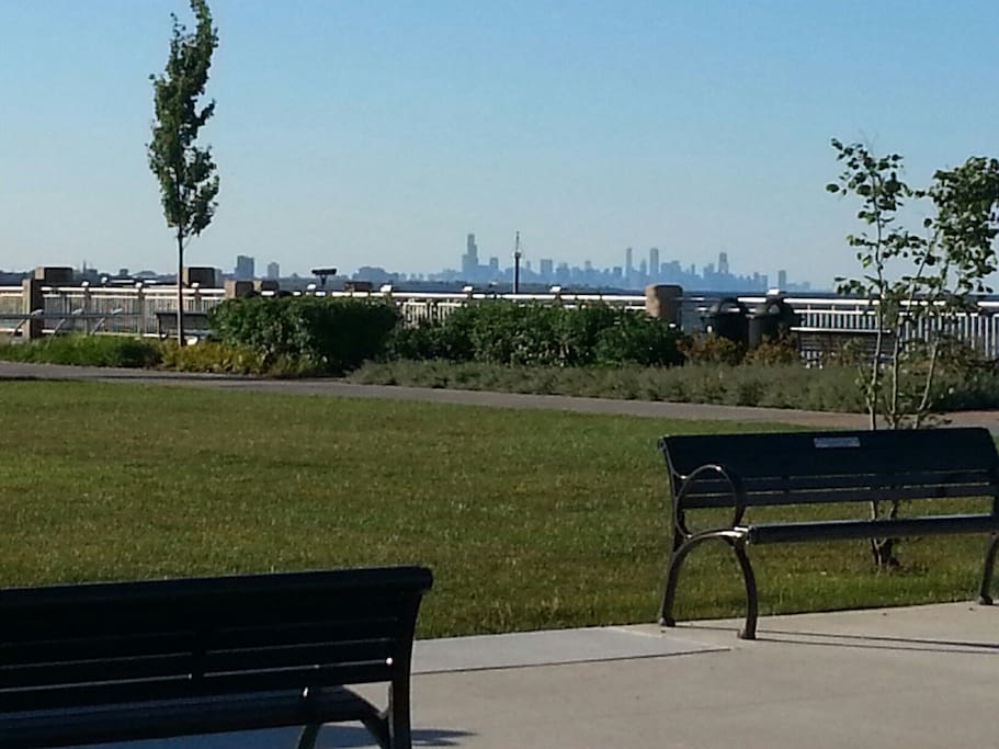 Chicago skyline view from beautiful Wahala park