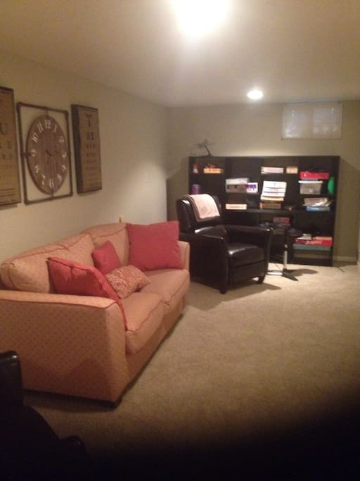 This comfy room is yours to relax, watch TV or whatever.  Have fun!