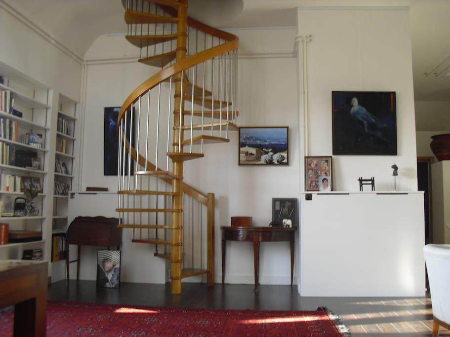 Staircase to mezzanine bedroom