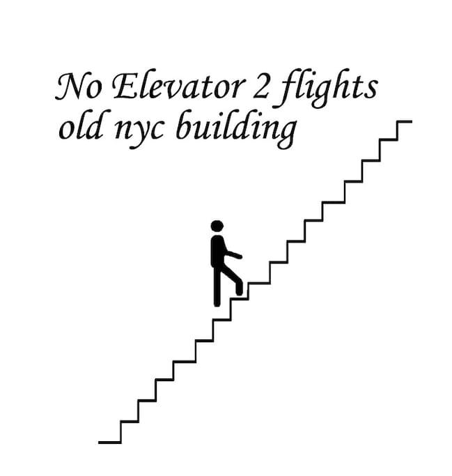 NO elevator. 2 x flights of stairs.