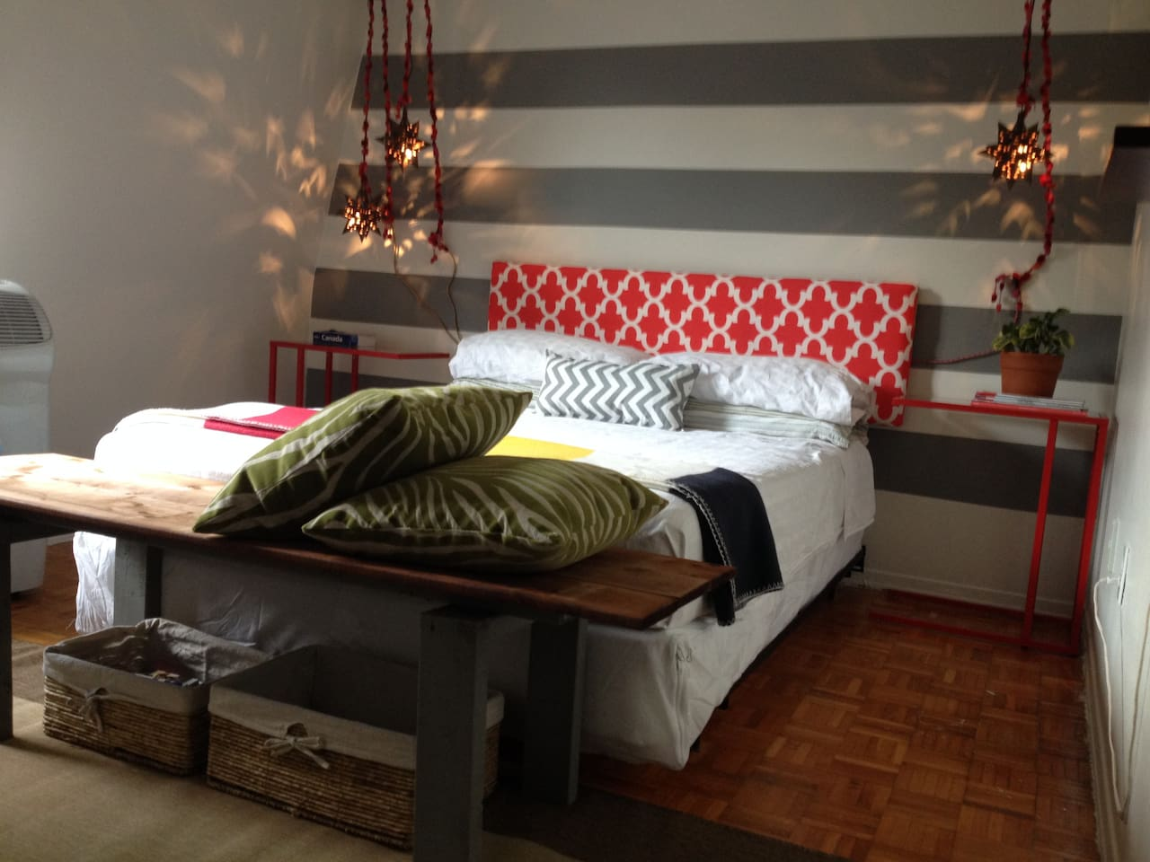 Freshly decorated boutique-style bedroom....comfy, better than home.