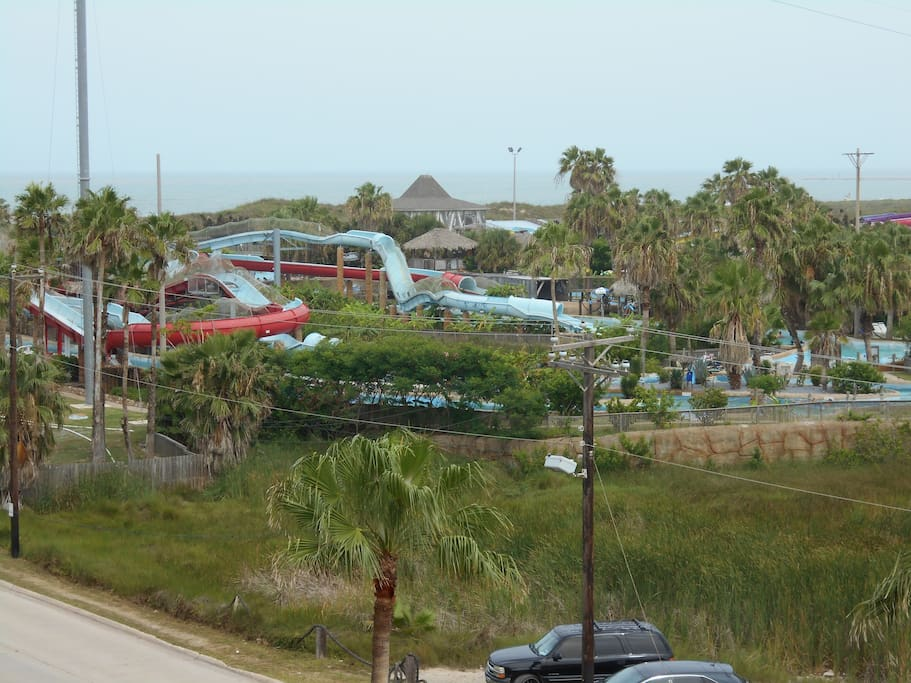 view to the ocean and the water park from the balcony