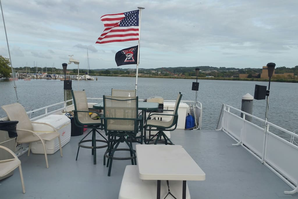 Top deck view at Marina.  Great for meeting family, friends and guests.  Seating for 10 people.