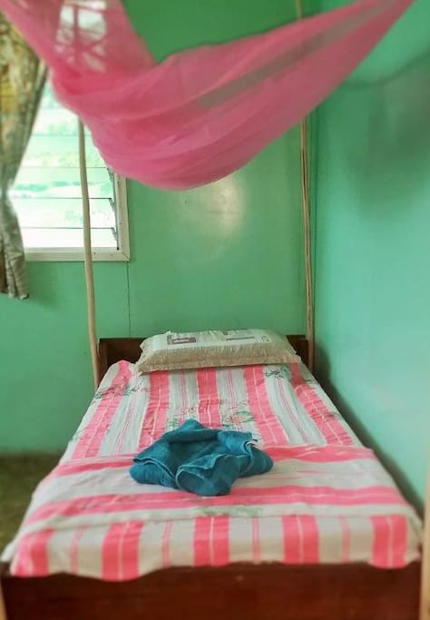 All beds have mosquito nets.