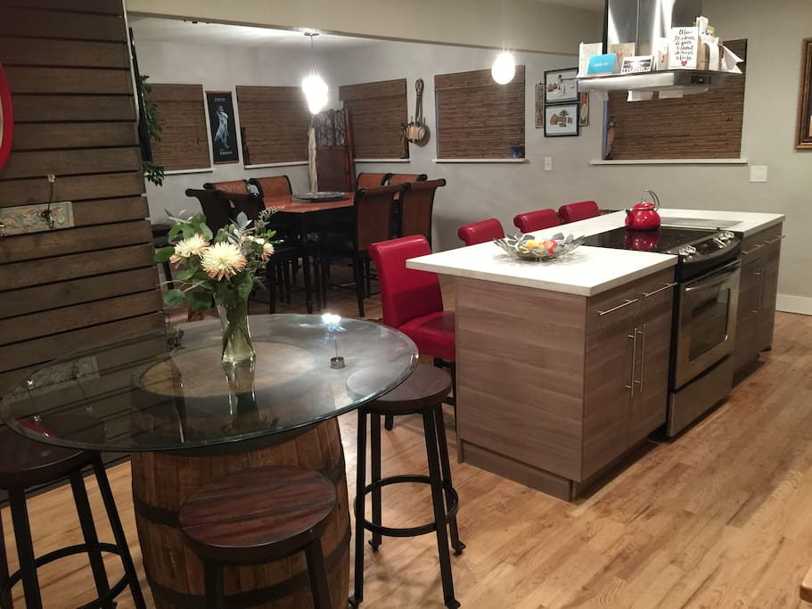 Dining room, bistro and kitchen