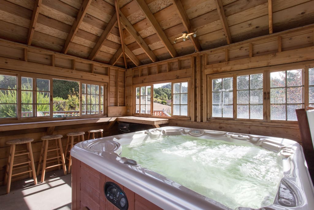 Private gazebo makes for a cozy hot tub session!