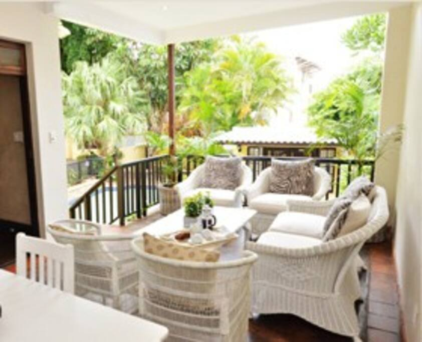 Patio area with comfortable seating