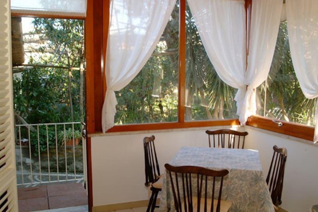 Interior of the veranda of the apartments inside Kalimera Residence