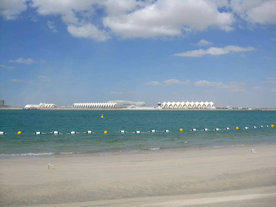 Private beach available to residents and facing F1 circuit