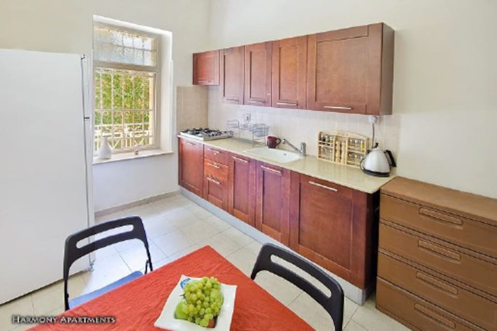 Kitchen - its kosher with mean and milk utensils. Microwave, oven, etc.