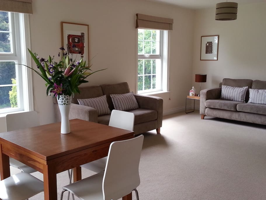 Large open plan living area with two sofas, satellite tv and dvd player and woo burning stove
