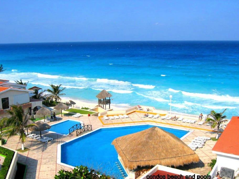 Condos pools and beach
