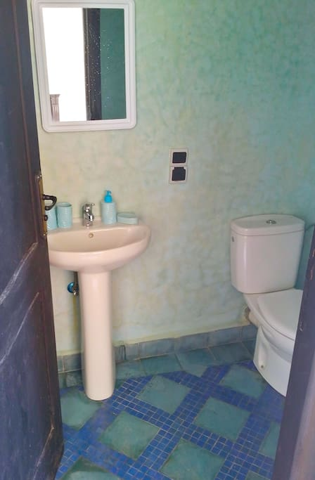 The ensuite bathroom has a western toilet and shower.