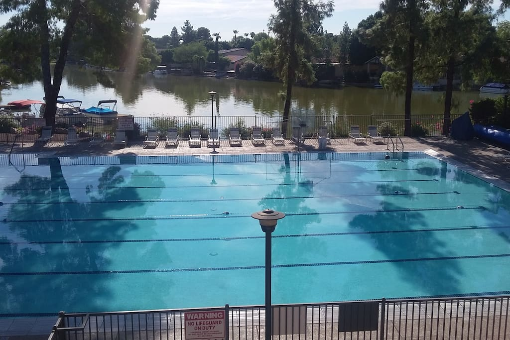 Lap pool, heated in the winter with the lake just behind it