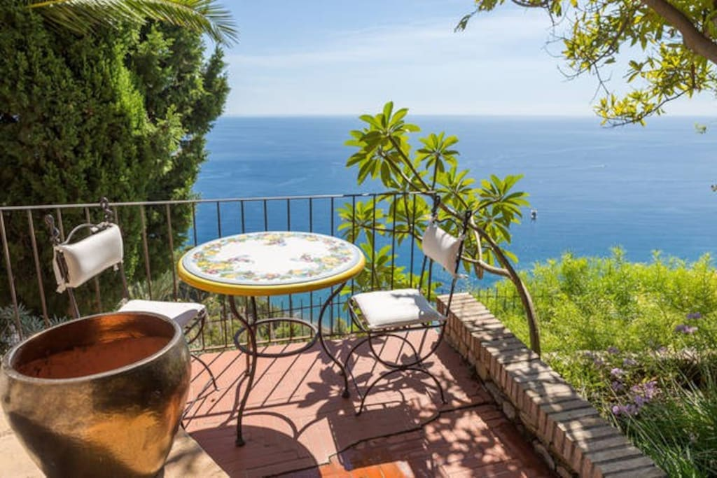 Lodge Dionysus' private coffee balcony with exquisite views of the Mediterranean
