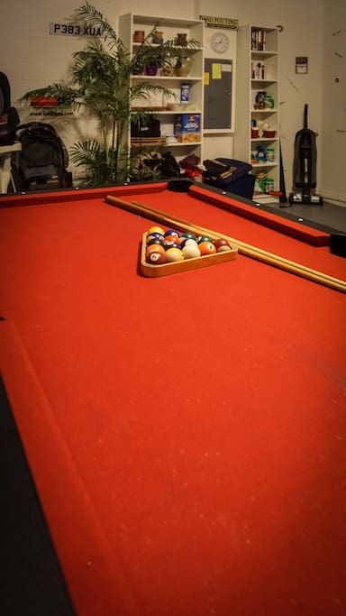 Game room with pool, air hockey and Fusball