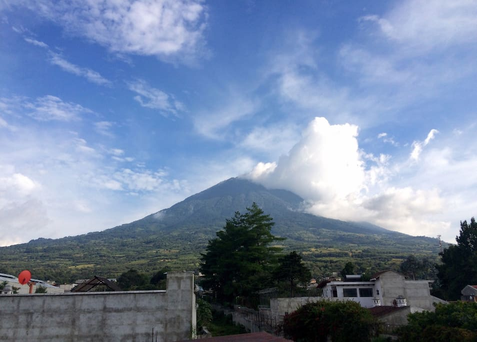 View of Volcan Agua from the terrace.
