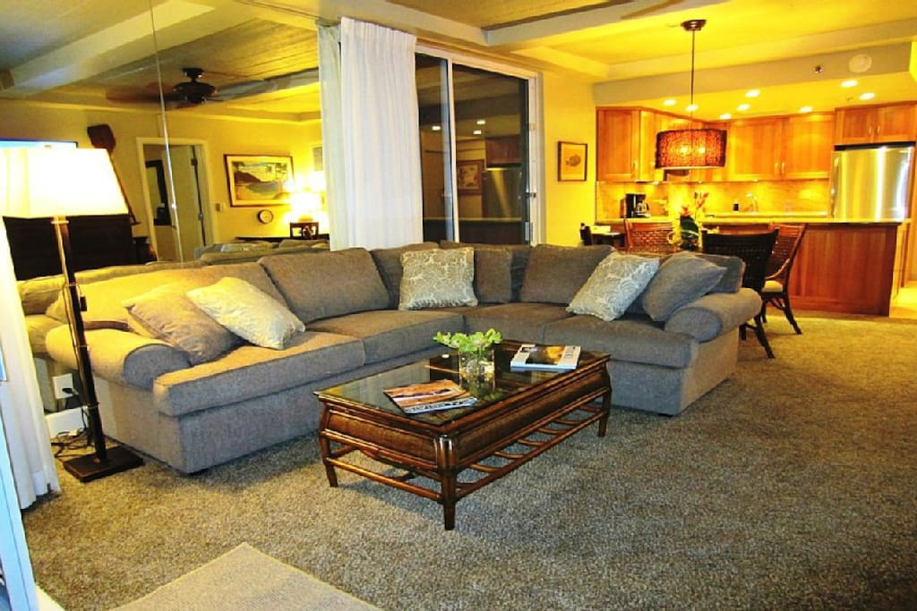 very spacious and comfy living area with full-size sofa sleeper and a twin XL Murphy bed under the 60 inch HDTV