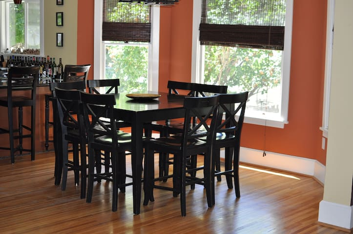 Dining room table perfect for group meals & games!
