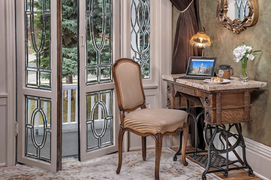 Desk and Balcony of Master Suite at Gibson Mansion