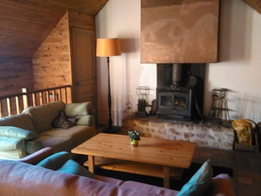 Cosy fireplace in the loft.