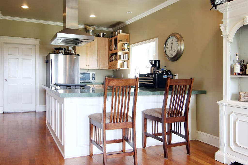 Open well stocked kitchen that is at your disposal.