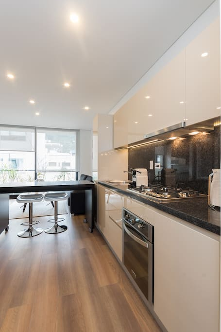 Nice kitchen with all the supplies that you need. Nespresso coffee!