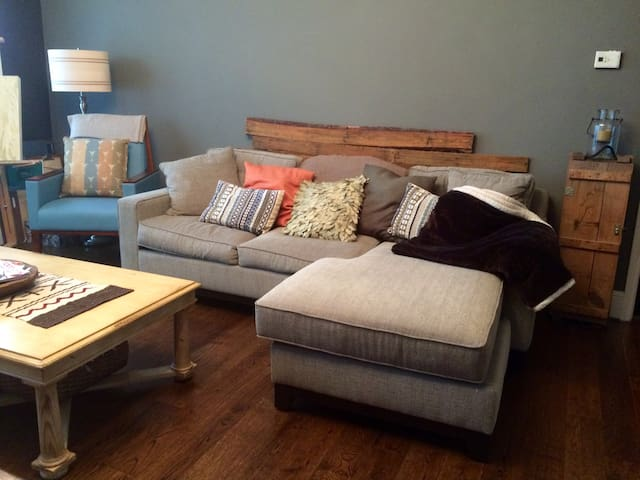 Comfy queen size sofa bed with chaise lounge