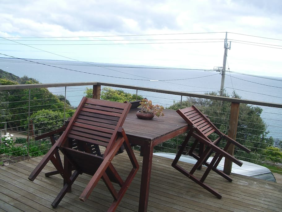 Elevated deck to relax on, and view the passing boats, dolphins, birds. Telescope inside for close-up views.
