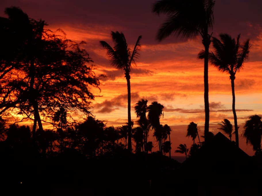 Sunset on a stormy night from the Lanai