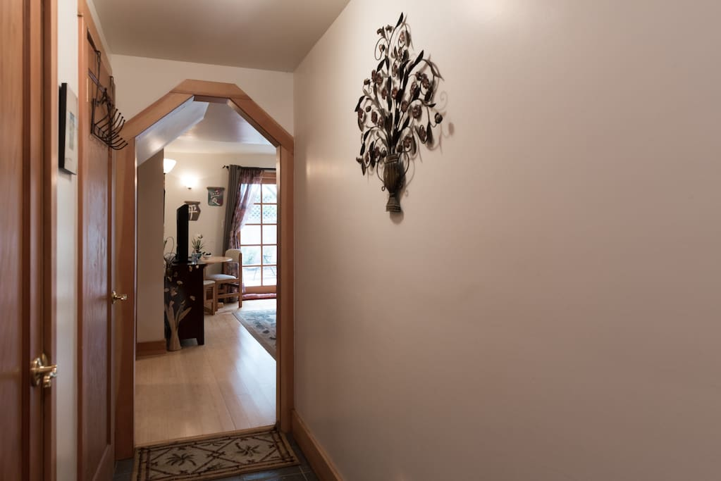 Walk right through the hallway  into your room.