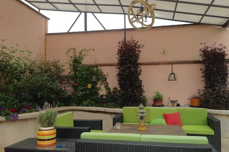 Penthouse clean, large, centric, private. You will enjoy the large terrace full of plants and flowers and covered from rain and sun. Perfect to explore the center and whole city