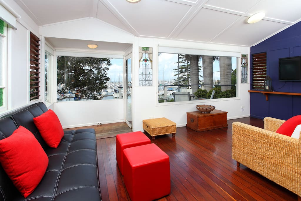 Open plan living space with spectacular views of the Manly Harbour.
