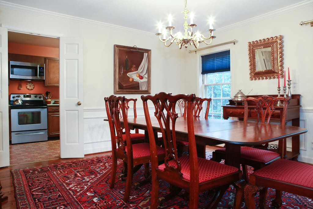 Dining room seating for  10 but can accommodate 14 persons with all leaves of table extended