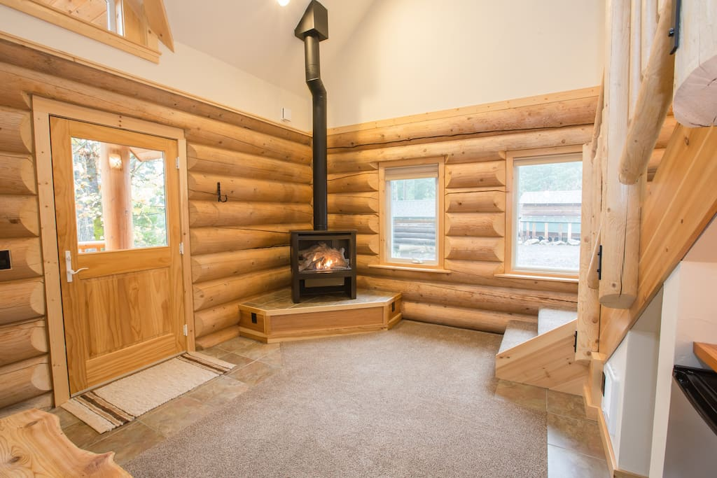a cozy gas log fireplace