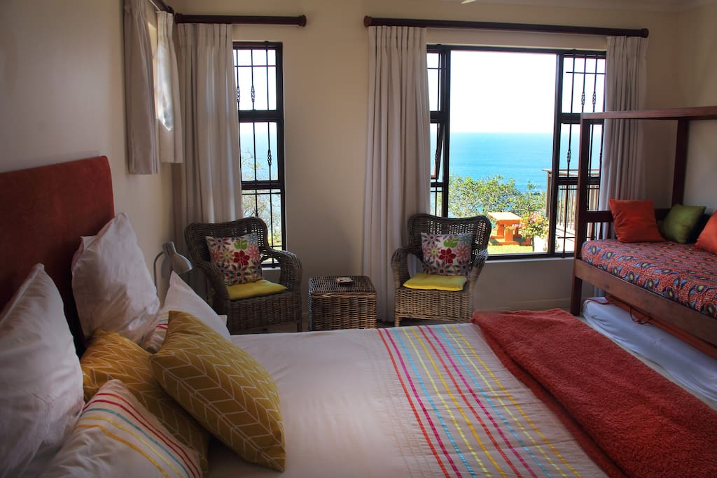 King Size (extra length) bed with stunning sea views. Single bed and single mattress. single mattresses