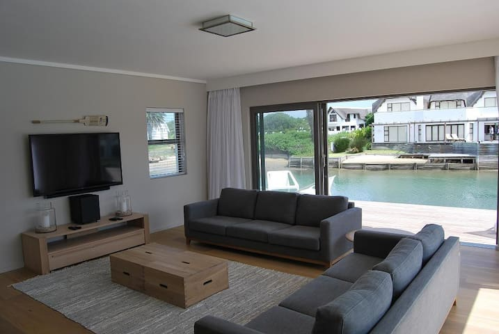 TV room facing canal