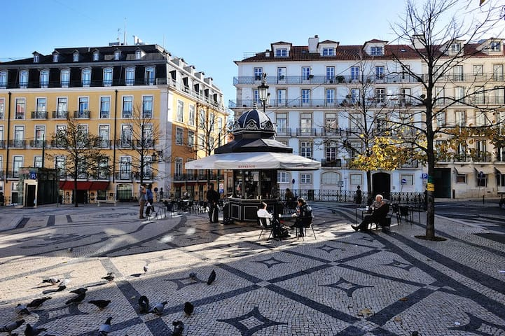 The main square in the area, Praça Camões, is just around the corner. Note the amazing traditional pavement.