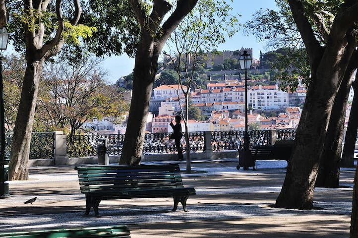 Great views of the Castle from Sao Pedro de Alcantara viewpoint  nearby. Particularly nice for a coffee in the morning light as it faces East.