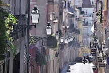 A nearby street on the busy side of Bairro Alto with some Fado bars. We are on the quiet, more residential side, a few streets away.