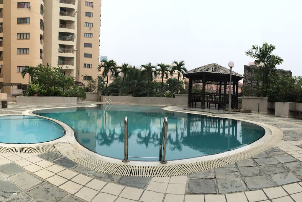 Swimming pool and gazebo with a lovely view.