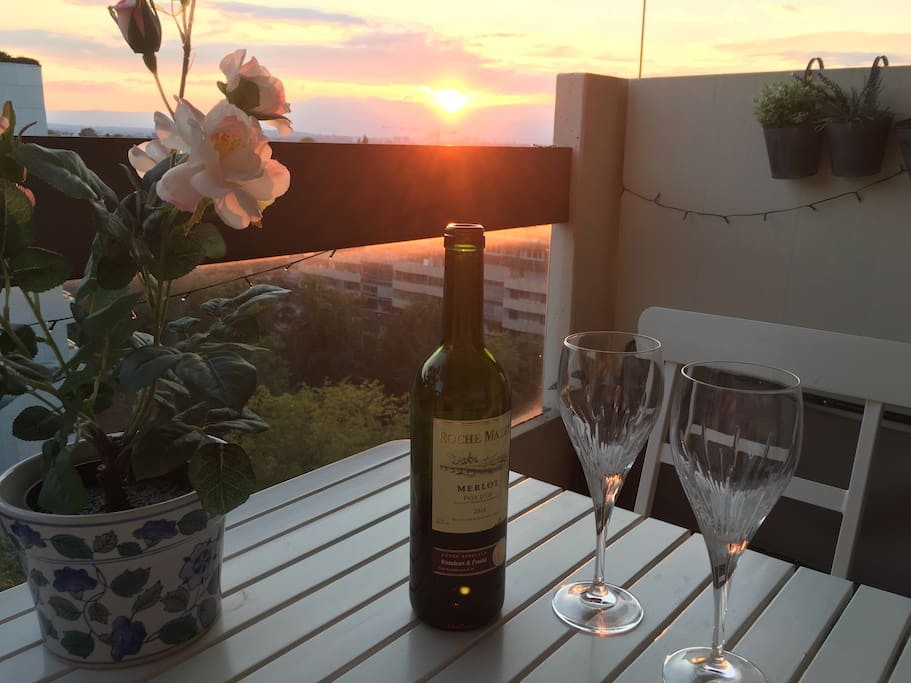Enjoy a glass of wine at sunset with a great view from the front balcony too