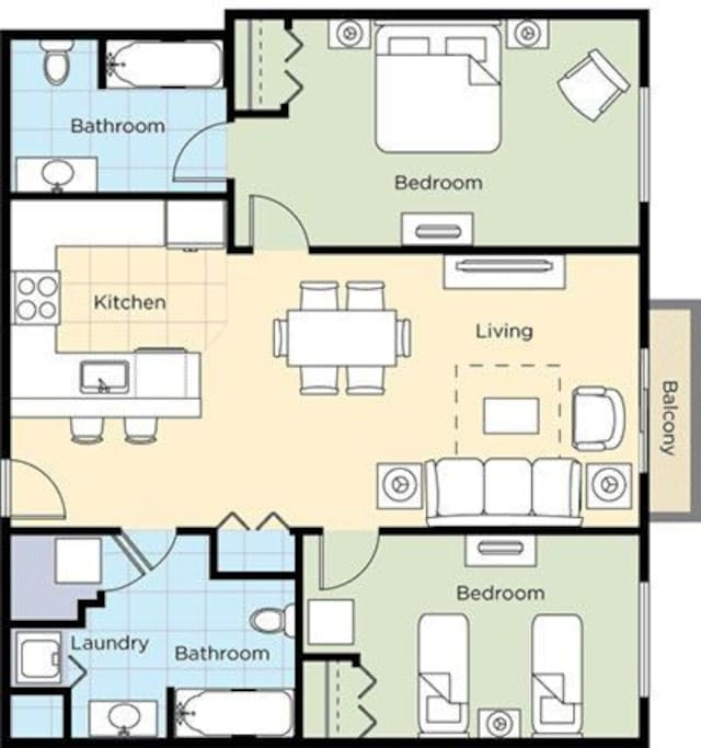 Here is the floor plan that shows the layout of the condo.