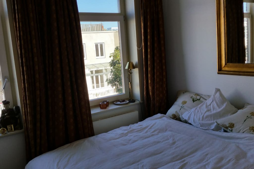The bed is a treca bed from France, it's huge and sleeps amazing! Also very quiet which is special for Amsterdam city...