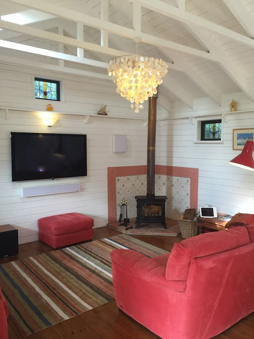 Lounge area and wood burner