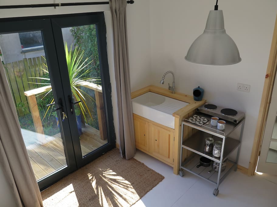 Kitchenette and deck