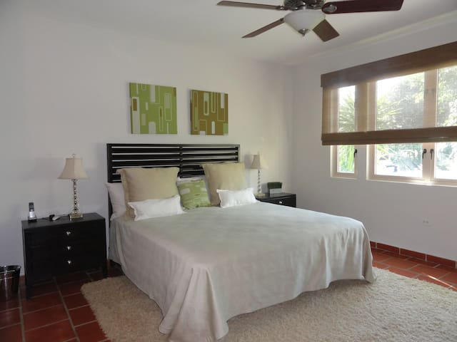 Second Bedroom en suite: King bed; Side Tables and lamps; Ceiling Fan; and Split Unit A-C.