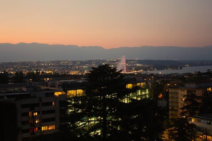 Watch lake/sunrise/sunset over GVA - Genewa - Apartament