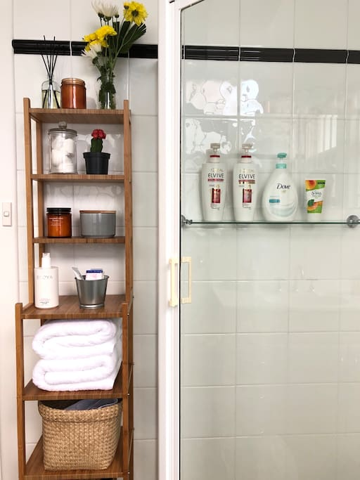 We provide shampoo, conditioner, hand & body wash, toothpaste and towels •Bathroom•