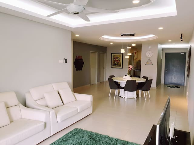Living hall is equiped with Aircond 1.5hp,  ceiling fan and standard furniture.